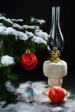 Christmas still life with balls and a lamp Royalty Free Stock Photography