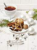 Christmas still life with biscuits and a tea Stock Images