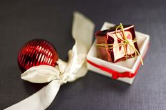 Christmas still life on a black background Royalty Free Stock Image