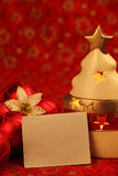 Christmas still life with blank card Stock Photography