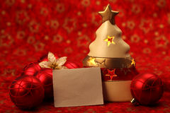 Christmas still life with blank card Stock Images