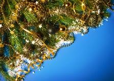 Christmas still life on blue background. Royalty Free Stock Photos