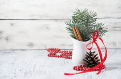 Christmas still life with branches of tree, pinecone and cinnamo Stock Photography