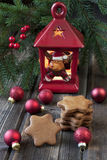 Christmas still life with bright symbols. Christmas composition with gingerbread  and decoration Royalty Free Stock Photography