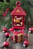 Christmas still life with bright symbols. Christmas composition with gingerbread  and decoration Royalty Free Stock Images