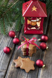 Christmas still life with bright symbols. Christmas composition with gingerbread  and decoration Stock Photos
