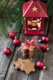 Christmas still life with bright symbols Stock Photos