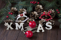 Christmas still life with bright symbols Royalty Free Stock Photography