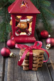 Christmas still life with bright symbols. Christmas gingerbread with holiday decoration Stock Images