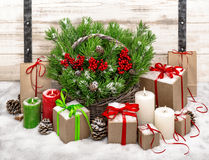 Christmas still life with burning candles and gift box decoratio Royalty Free Stock Images
