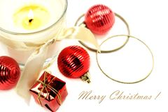 Christmas still life with candle and decorations Royalty Free Stock Photography