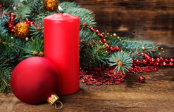 Christmas still life with candle and decorations Stock Photo