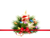 Christmas still life with candle. EPS 10 Stock Photo