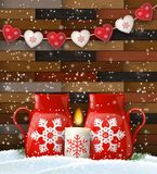 Christmas still-life with candle and tea mugs royalty free illustration