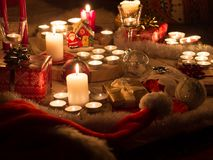 Christmas still life with candles of different size and shape, d royalty free stock photos