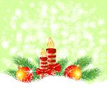 Christmas still life with candles and marbles. Vector  illustration Stock Photo
