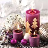 Christmas still life. Candles and ornaments Royalty Free Stock Photo