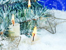 Christmas Still Life with Candles in Snow Royalty Free Stock Photos