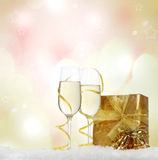 Christmas still life with champagne Royalty Free Stock Images