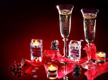 Christmas still life with champagne. Royalty Free Stock Photo