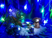 Christmas. Still life with champagne and  decorations Stock Photography