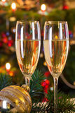 Christmas still life with champagne. Royalty Free Stock Image