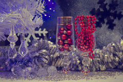 Christmas still life with champagne, vintage, retro, old style p Royalty Free Stock Photos