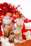 Christmas still life with a Christmas decorations and hot chocol Royalty Free Stock Images