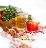 Christmas still life with a Christmas decorations and hot tea ne Stock Photos