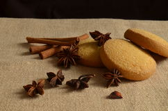 Christmas still life. With cinnamon and cookies Stock Photo