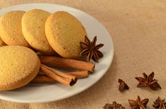 Christmas still life. With cinnamon and cookies Stock Image