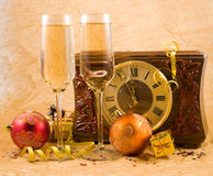 Christmas still life with a clock stock images