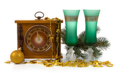 Christmas still life with a clock Stock Photography