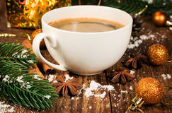 Christmas still life with coffee and Christmas decorations Royalty Free Stock Photo