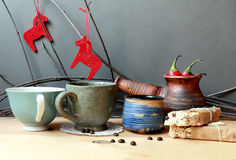 Christmas still life with coffee and cinnamon Royalty Free Stock Photos