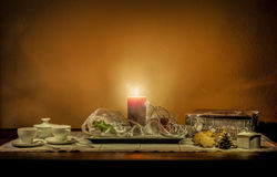 Christmas still life composition on a wooden table Royalty Free Stock Image