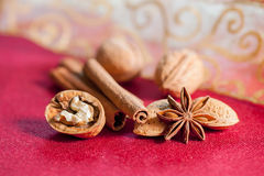 Christmas still life concept with nuts and spices. Royalty Free Stock Image