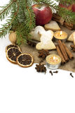 Christmas still life with cookies, candle and spices Royalty Free Stock Photography