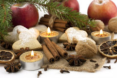 Christmas still life with cookies, candle and spices Stock Photo