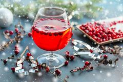 Christmas still life with cranberriy punch. Christmas and new year concept.  Stock Images