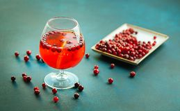 Christmas still life with cranberriy punch. Christmas and new year concept.  Stock Photography