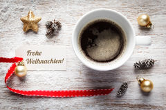Christmas still life, cup of coffee, tag Royalty Free Stock Photo