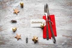 Christmas still life, cutlery and decoration on wood Royalty Free Stock Photos