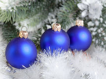 Christmas still life .Dark blue New Year's ball Stock Images