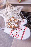 Christmas still life. Christmas decoration on the Christmas tree and cookies Royalty Free Stock Images