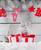 Christmas still life decoration with wooden Royalty Free Stock Photo