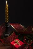 Christmas still life with decorations stock image