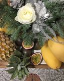 Christmas still life of fir branches and fruits royalty free stock photography