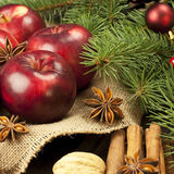 Christmas still life with fruit and spices Stock Images