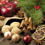 Christmas still life with fruit and spices Stock Photos
